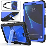 SEYMAC Stock Galaxy Tab A 10.1 T580/T585 Case (NOT for Other 10.1 Tablet), Full-Body [Heavy Duty]& Shockproof Hybrid Armor Protection with Stand & Portable Strap for Samsung Tab A 10.1 -(Blue+Black) (Color: Blue+Black)