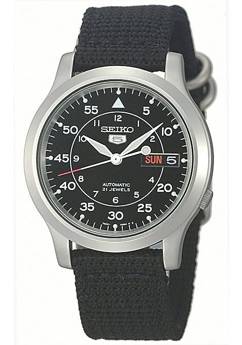 Seiko-Men-s-SNK809-Seiko-5-Automatic-Watch-with-Black-Canvas-Strap