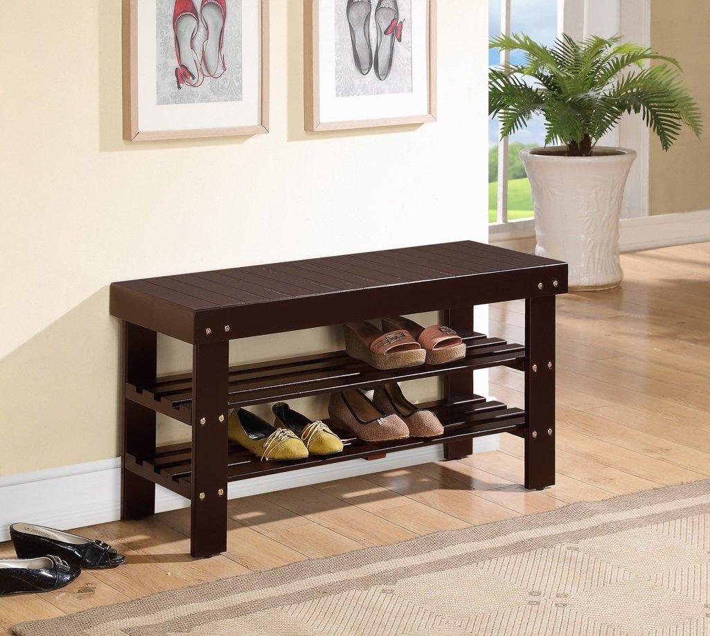 Espresso Finish Solid Wood Storage Shoe Bench Shelf Rack