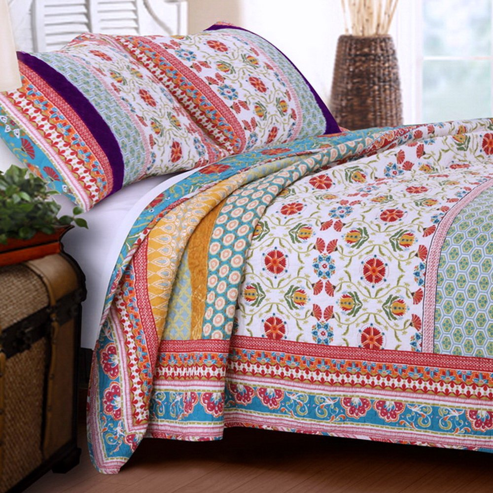Retro Boho Quilt Set with Shams Print Geometric Floral Pattern Mandala Medallions Blue Red Yellow 100 Cotton Reversible 3 Piece Bedding Double Full Queen - Includes Bed Sheet Straps 0