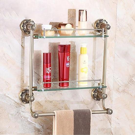 Mensole bagno Ripiani in stile europeo rame, ripiani bagno, doppi vetri con un asciugamano ferroviario bagno Ripiani ( Colore : 62cm )