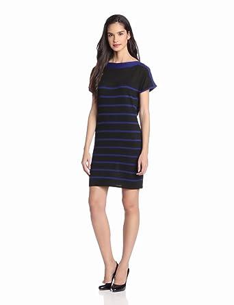Design History Women's Stripe Jersey Dress, Onyx Combo, Medium