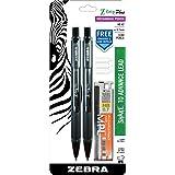 Zebra Z-Grip Plus Mechanical Pencil, 0.7mm, Bonus Lead and Erasers, Black Barrel, 2-Count (Color: black)