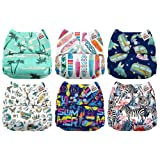 Mama Koala One Size Baby Washable Reusable Pocket Cloth Diapers, 6 Pack with 6 One Size Microfiber Inserts (Beach Bum) (Color: Beach Bum, Tamaño: One Size)