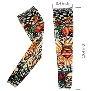 20PCS Set Arts Fake Temporary Tattoo Arm Sunscreen Sleeves - AKStore - Designs Tiger, Crown Heart, Skull, Tribal and Etc (Color: 20pcs)