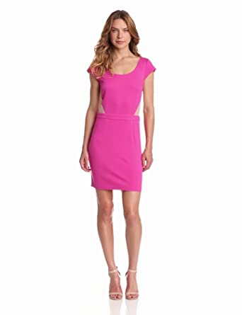Madison Marcus Women's Boom Ponti Mesh Cut Out Dress, Pink Panther, Large