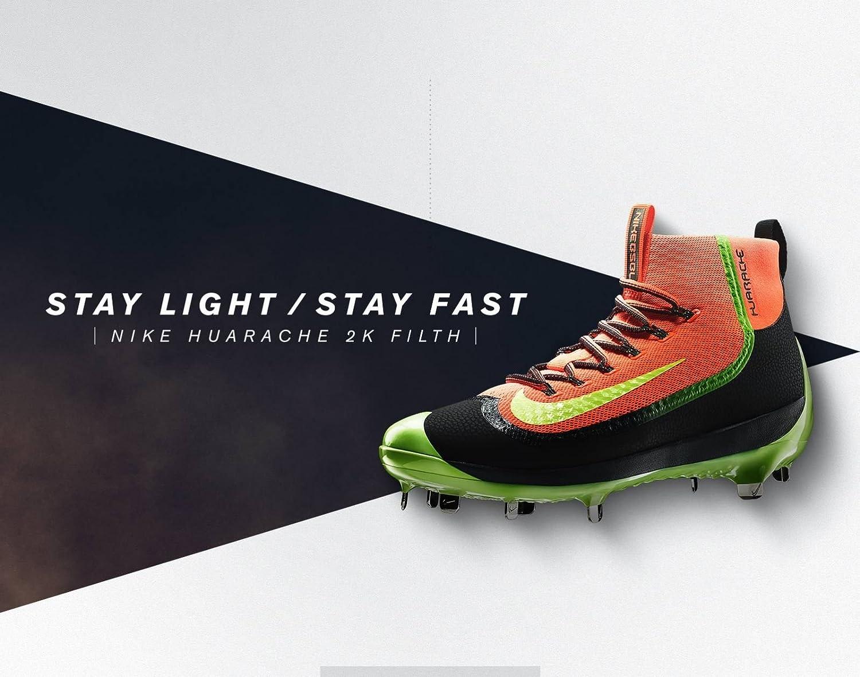 Nike Air HUARACHE 2KFILTH ELITE Mid Baseball Cleats (10, Orange/Anthracite/Volt)