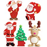 USB Flash Drive Christmas Thanksgiving Gifts Thumb Drive Santa Claus, Christmas Tree, Elk(Pack of 5 32GB) (Color: 5xChristmas Design, Tamaño: 32GB)