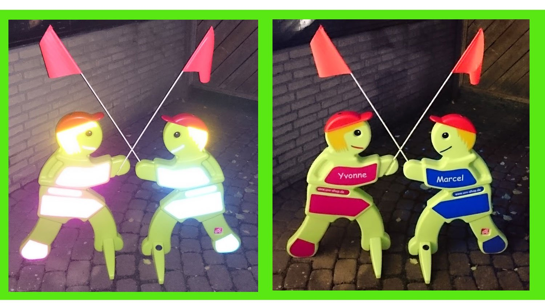 2 Stück Achtung Kinder 1 x Lisa UND 1x Luca Vorsicht (Name nach Wunsch) - grün und reflektierend - Sicherheit für spielende Kinder