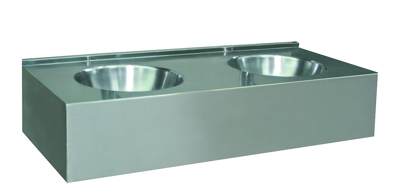 Nofer 13080.2.S Handwaschbecken aus Edelstahl, 1200 x 550 mm mit zwei Platten integrierte/Dashboard Front Panel günstig online kaufen