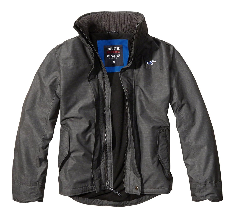Hollister Herren Konstrukteur Fleece-Futter all Wetter Jacke Grau L günstig online kaufen
