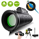 Monocular Telescope - 12X50 High Definition FMC BAK4 HD Monocular ?Day & Low Night Vision? with Smartphone Holder & Tripod IPX7 Waterproof & Eco-Friendly Materials for Bird Watching, Camping (Color: Black)
