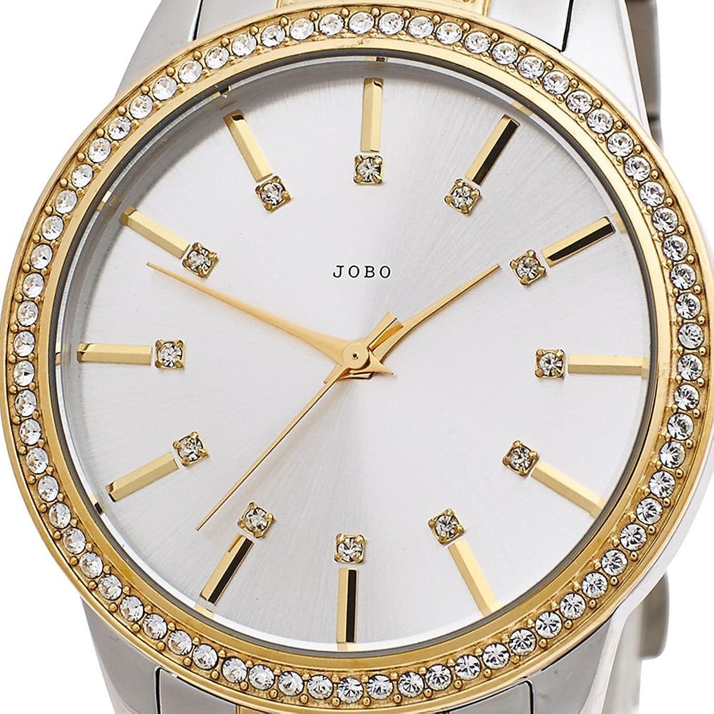 Damen-Armbanduhr Quarz Analog Edelstahl teilvergoldet Kristall-Elements günstig bestellen