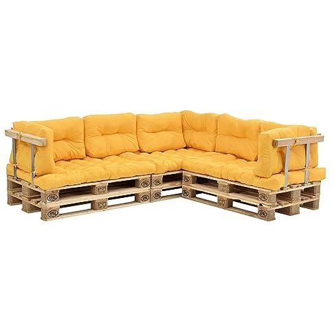 [en.casa] Cuscini per palette - a 11 pezzi - cuscino sedile + cuscino schienale [color senape] divano a palette adatto per dentro e fuori