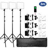 VILTROX VL-200 3 Packs Ultra Thin Dimmable Bi-color LED Video Light Panel Lighting Kit includes: 3300K-5600K CRI 95 LED Light Panel with Hot Shoe Adapter/Light Stand/Remote Controller and AC adapter … (Tamaño: 200 III)