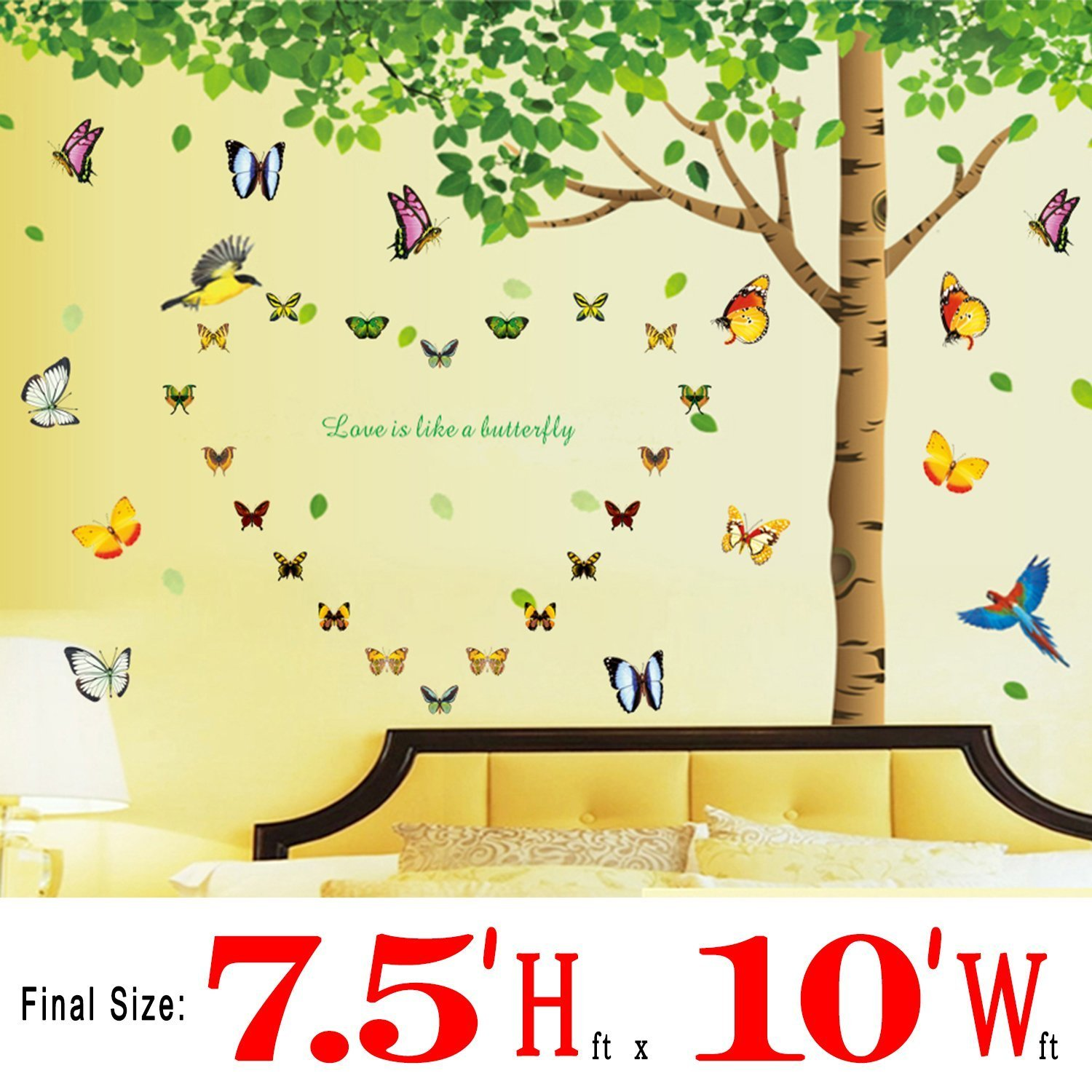 Фото Dago, 7.4'(h) X 9.7'(w) Extra Large 3 in 1 with DIY Many Butterflies& Under the Fresh Green Leaves & Tree to Enjoy Easy and Relaxed Quote Removable Wall Decal Sticker for Kids & Living Room family wall quote removable wall stickers home decal art mural