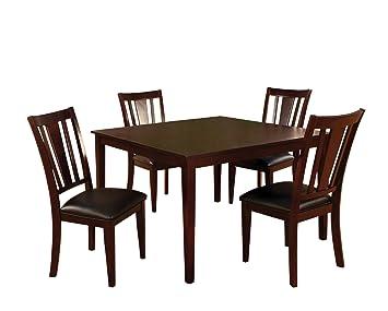 Furniture of America Cornelius 5-Piece Dining Table Set, Espresso Finish
