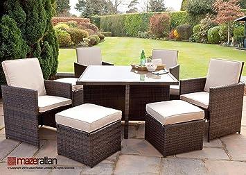 Maze Rattan Outdoor Garden Furniture 4 seat deluxe Cube set - 2 TONE BROWN