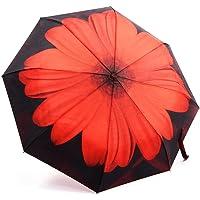 Oak Leaf Windproof Automatic Compact Rain Travel Umbrella (Red)