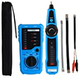 Professional Wire Tracker RJ11 RJ45 Cable Tester for Ethernet LAN Telephone Line Test Network Cable Collation Wire Tracing Continuity Checking Positive/Negative Polarity Ring/TIP Line Level Detection (Color: Blue, Tamaño: Hand-hold)