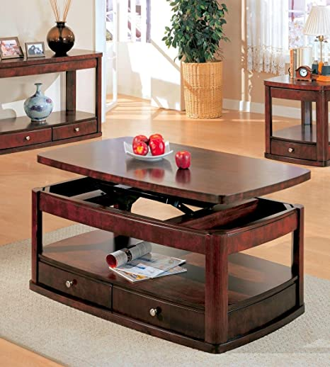 Elegant Modern Style Lift Top Rectangular Coffee Table In Dark Brown Wood Finish. (Item# Vista Furniture CF700248)