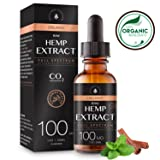 Organic Hemp Extract for Pain & Anxiety Relief (100MG), Cinnamint Flavor, Full Spectrum, Blended with Organic Hemp Seed Oil for Optimal Absorption, Natural Sleeping Aid, Lab Tested, 1oz (Tamaño: 100MG)