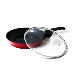 flamekiss ceramic coated fry pan by amorè, nano ceramic coating silver ion
