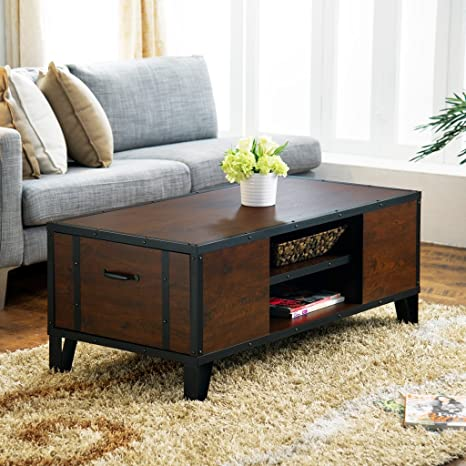 Drancy Industrial Coffee Table, Vintage Walnut
