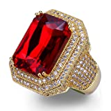 TOPGRILLZ 18K Hip Hop Men Gold Plated Simulated Iced Out Ruby Punk Ring (8)