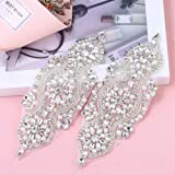 2 Pieces Gorgeous Beaded Applique with Clear Rhinestone, Pearls, Crystal Trim for DIY Design- Perfect for Wedding Cake Decoration, Flower Girl Basket, Bag Decor, Bridal Dress Accessories (Silver) (Color: JBL-002-S)