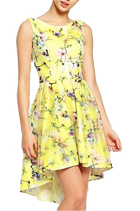 SheIn Women's Backless Yellow Floral Print High Low Dress