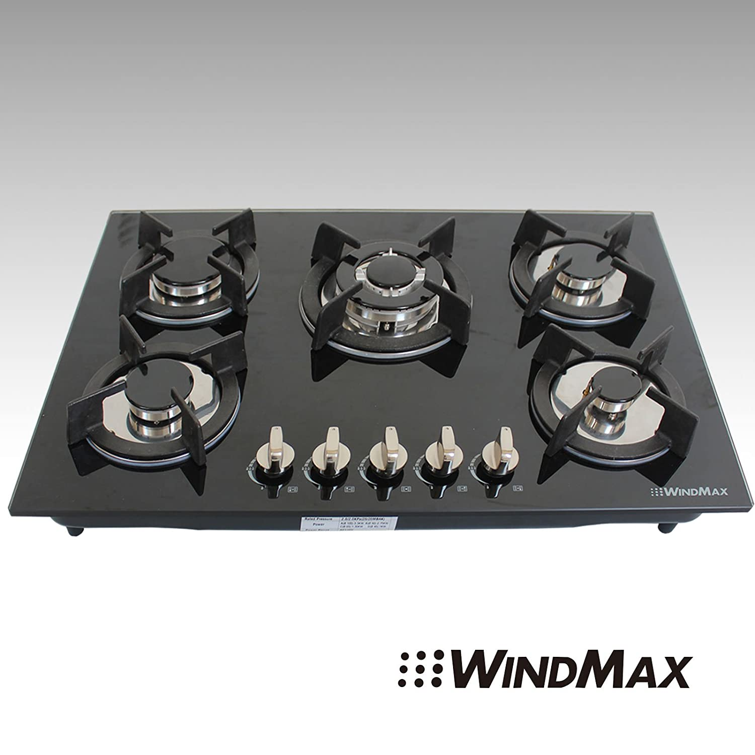 "Windmax 30"" Euro Design Black Tempered Glass Built-in Kitchen 5 Burners Gas Hob Cooktops"