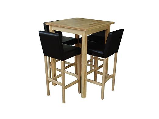 4 Barhocker mit Bartisch Set Essgruppe Stehtisch Buche Natur lackiert Bistrotisch 80x80x110cm L/B/H Holz Leder dunkelbraun