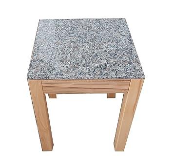 Granit .30,5 x 30,5 x 45cm hoch. Blumenhocker Kernbuche massiv Beistelltisch