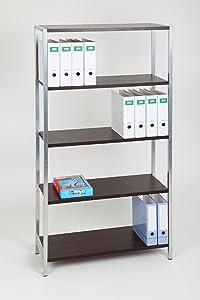 Büroregal Officeline 180x89x35 cm, 5 Böden, 60 KG Rahmen silber, Böden Wenge  BaumarktKundenbewertung und Beschreibung