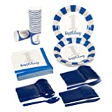 Boys First Birthday Party Supplies – Serves 24 – Includes Plates, Knives, Spoons, Forks, Cups and Napkins. Perfect 1st Birthday Party Pack for Kids Boy Birthday Themed Parties. (Color: Boys 1st Bday)