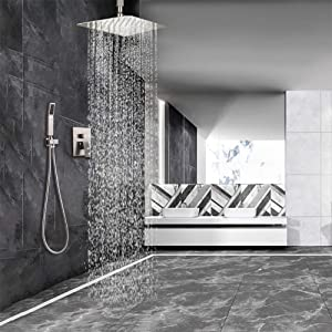 STARBATH Ceiling Mount Shower System with High Pressure12 Rain Shower Head and Handheld, Shower Faucet Rough-in Mixer Valve and Trim Included,Luxury Rainfall Shower Sets,Brushed Nickel (Color: Brushed Nickel Ceiling Mount Set)