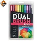 Tombow 56185 Dual Brush Pen Art Markers, Bright, 10-Pack. Blendable, Brush and Fine Tip Markers - 3 Pack (Color: 3 Pack (Bright))