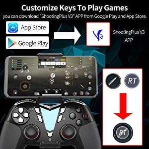 Mobile Game Controller for Call of Duty for Fortnitee, IFYOO ONE Pro Wireless Gaming Gamepad, Compatible with iPhone iPad iOS, Android Phone/Tablet/TV, PC Windows 10/8/7/Steam - Black&Silver (Color: Black&Silver)