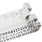 ?Sticky Upgrade? Washi Tape Retro Color Envelope Sticky Paper Tape Washi Masking and Adhesive Tape Set of 6 Roll for Gift Wrapping Scrapbook DIY Decoration(English Alphabet) (Color: English Alphabet)