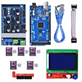 BIQU Mega2560 Control Board + LCD 12864 Graphic Smart Display Controller Module + Ramps 1.6 Mega Shield+DRV8825 Stepstick Stepper Motor Driver with Heat Sink for 3D Printer Arduino Reprap