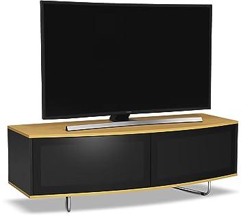 """Centurion Soports Caru Negro brillante y roble Beam-Thru remoto fácil de usar super-contemporáneo """"D"""" diseño de la forma de 32 """"-65"""" LED TV / OLED / LCD Gabinete"""