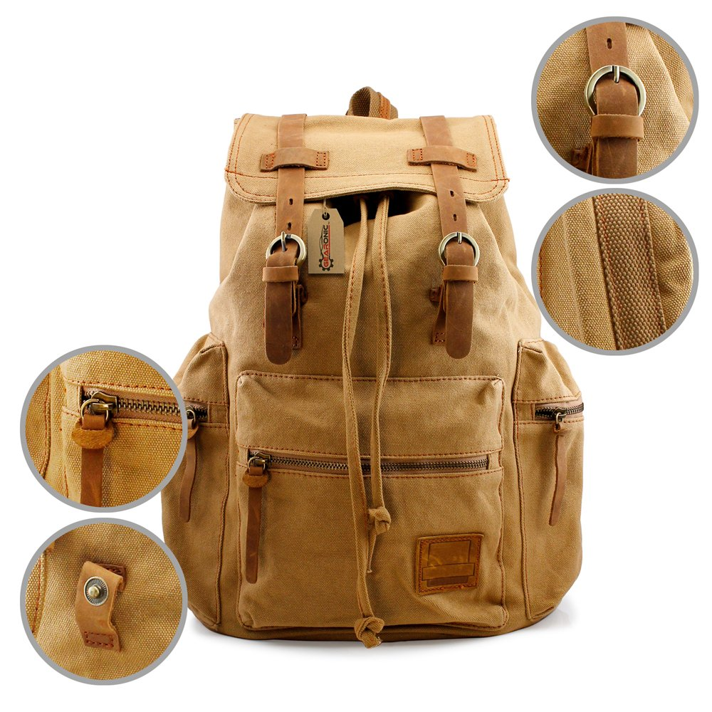 GEARONIC TM Men's Outdoor Vintage Canvas Military Shoulder Travel Hiking Camping School Bag Backpack Fit for Notebook Macbook 11 , 13, 15 inch Air Pro Laptop 0