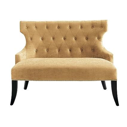 2-Sitzer Sofa Teatro, 122x92x73cm (BxHxT), Sitz gold, Gestell schwarz, Sitz 96 % Polyester, 4 % Viskose, Korpus Buche massiv lackiert mit Nosagfederung 1 Stuck