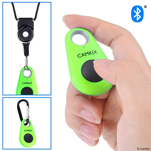CamKix Camera Shutter Remote Control with Bluetooth Wireless Technology - Drop Style - Compatible with iPhone/Android - One Button Control - Carabiner