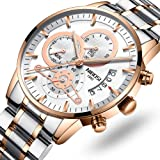 Men's Watches Sports Army Chronograph Waterproof Military Quartz Wristwatches Luxury Watches Rose Gold White Color (Color: 2309-3-GD, Tamaño: M)