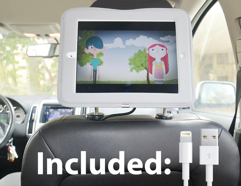 Quality Entertainment Products iPad Car Headrest Mount Holder for Apple iPad 4 / New iPad 3 / iPad 2 / iPad 1 Including Car Charger and Extra Long Cable - Blue at Sears.com