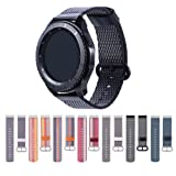 Cumeou Gear S3 Frontier Band, Nylon Replacement Bands 22mm Quick Release Breathable Bracelet Strap for Samsung Gear S3 Classic/Frontier/Huawei Watch 2 Classic/Pebble Classic/Time/Time Steel/2/2 SE (Color: black)
