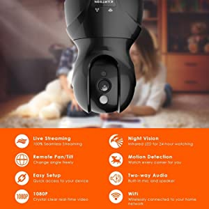 Wireless Security Camera with Two-way Audio - KAMTRON 1080P