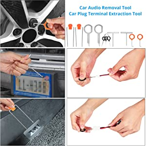 ADPOW 25PCS Car Trim Removal Tools Kit and Car Audio Removal Keys for Car Dash Door Window Molding Upholstery Marine Fastener Removal Installer and Repair Nylon Pry Tool Kits with Durable Storage Bag (Color: 25pcs+ Storage Bag)